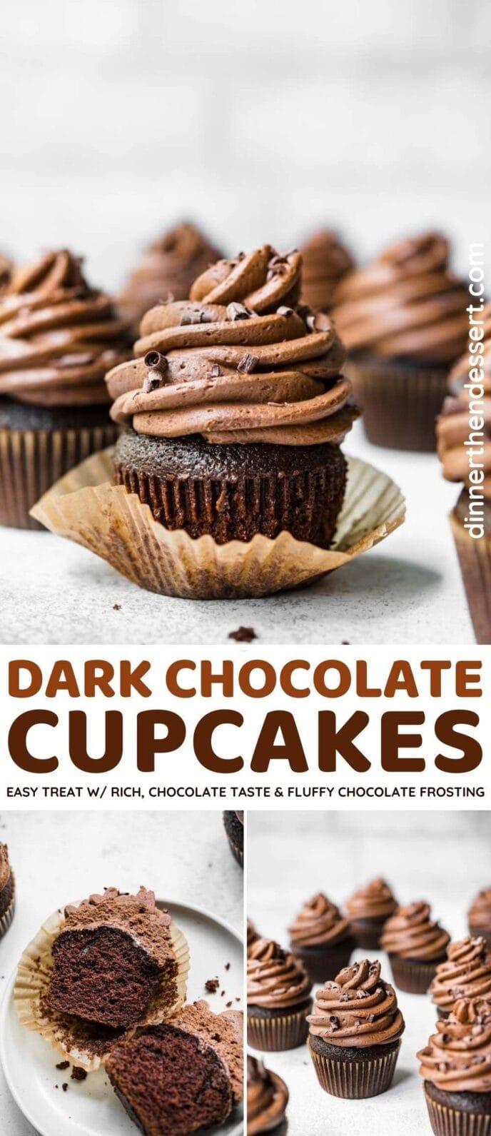 Dark Chocolate Cupcakes collage