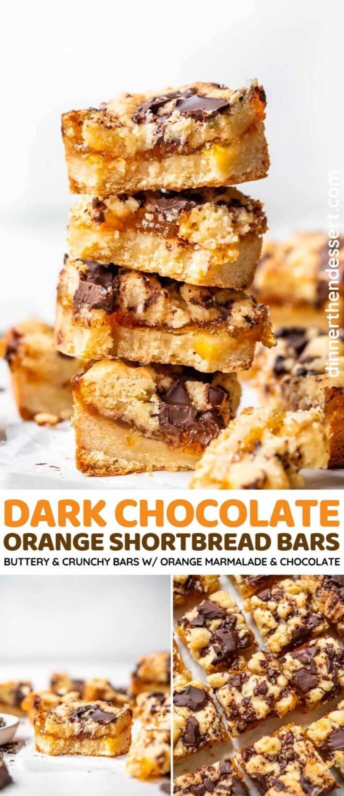 Dark Chocolate Orange Shortbread Bars collage