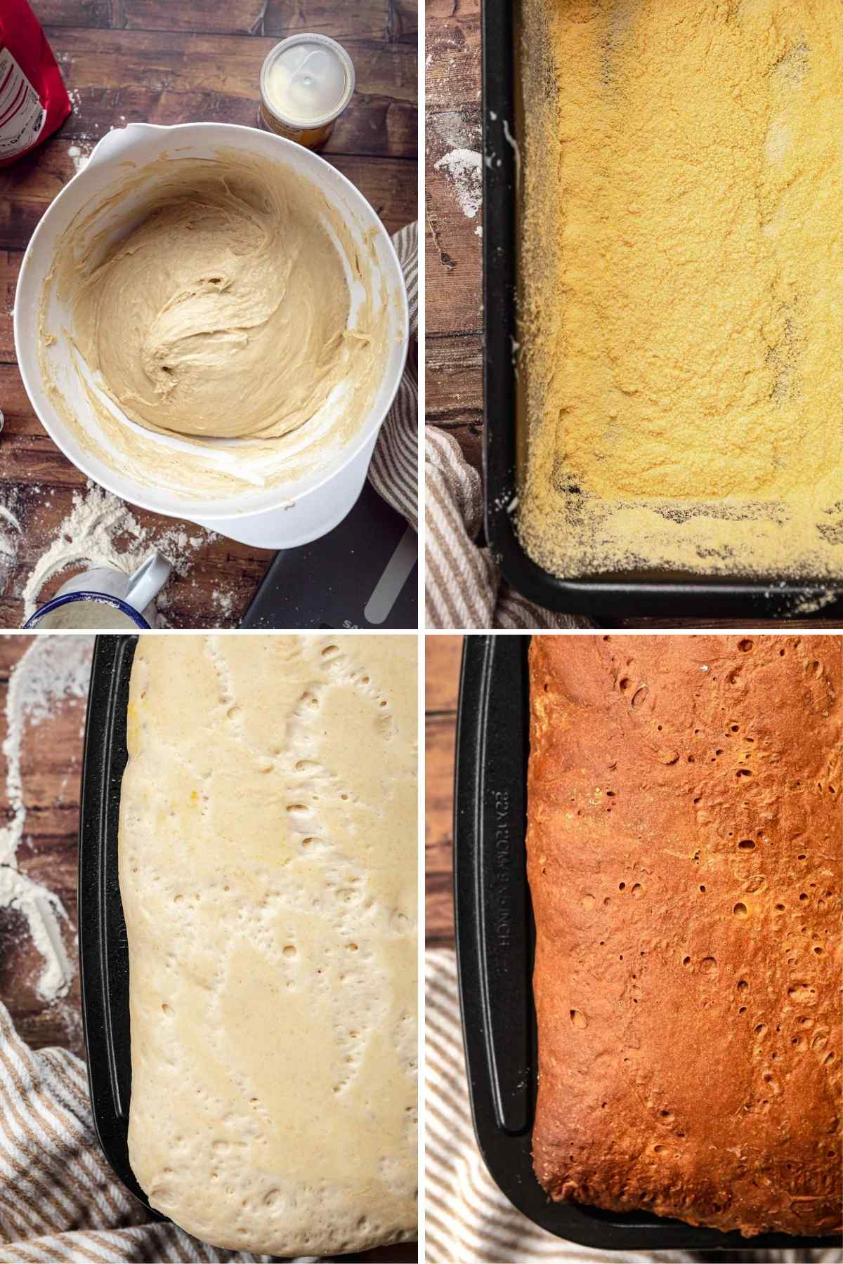 English Muffin Bread dough in bowl, loaf pan with corn starch, proofed dough in loaf pan, and baked bread in loaf pan