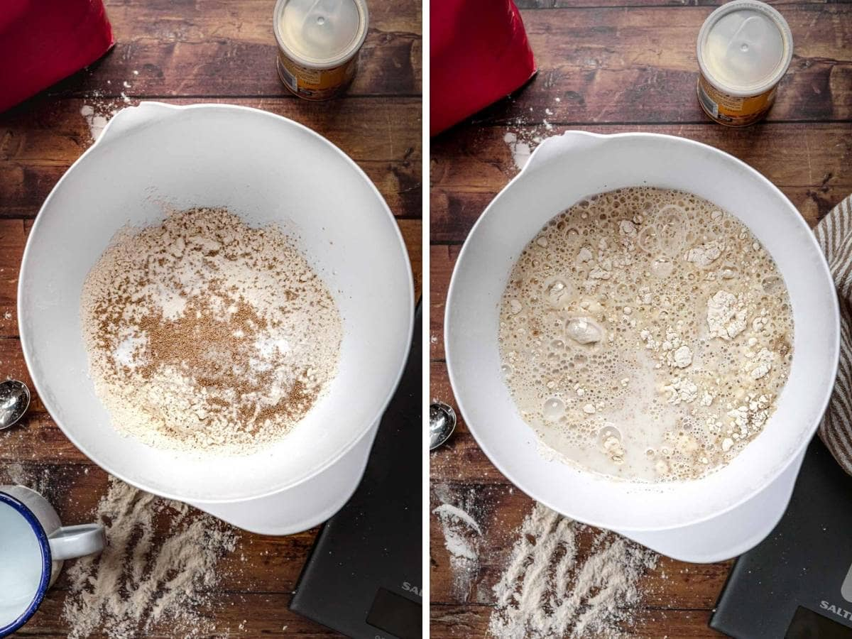 English Muffin Bread dry ingredients in bowl