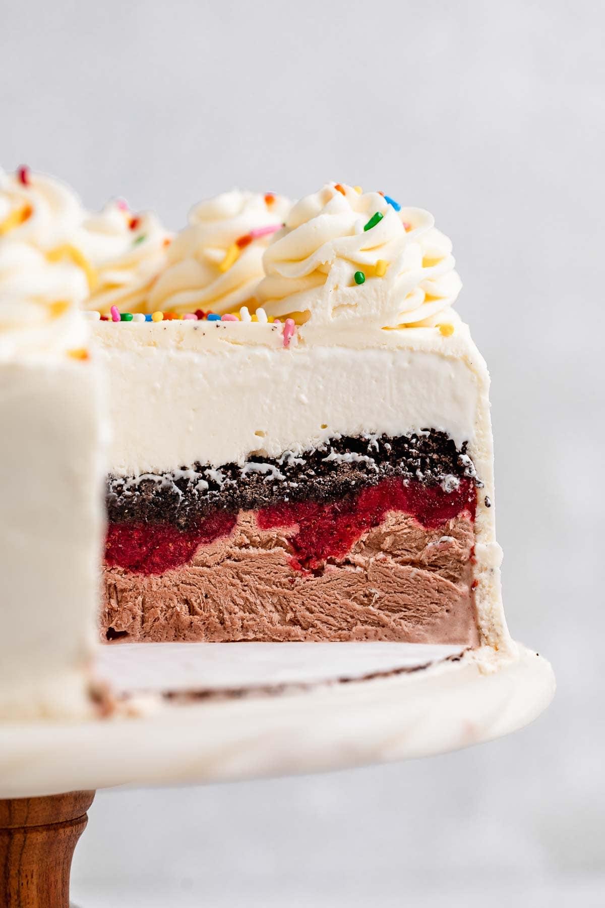 Ice Cream Cake with slice missing