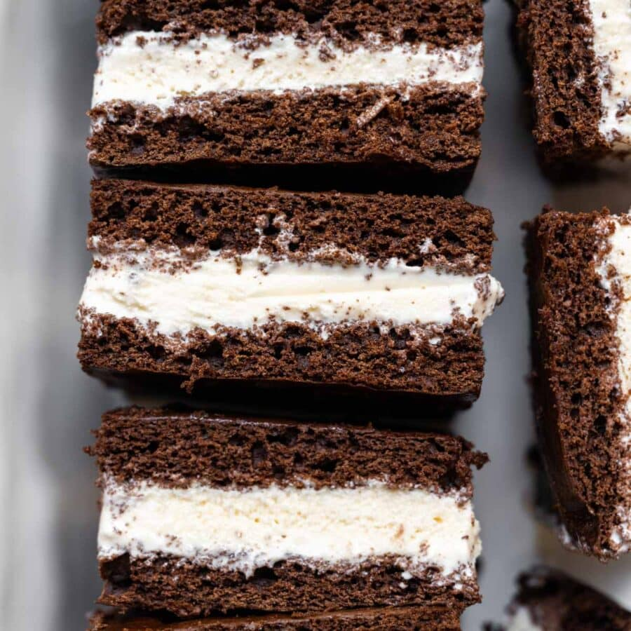 Ice Cream Sandwiches sliced for serving