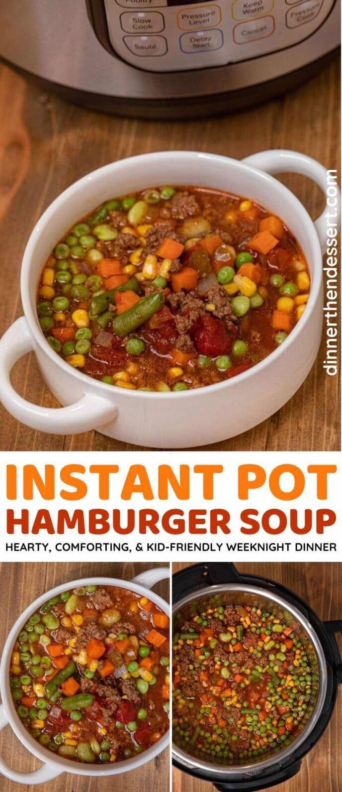 Instant Pot Hamburger Soup collage