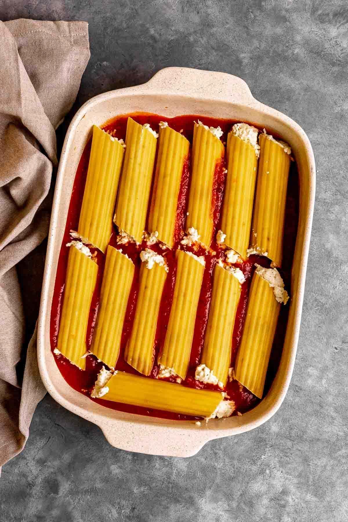 Million Dollar Manicotti noodle layer in baking dish