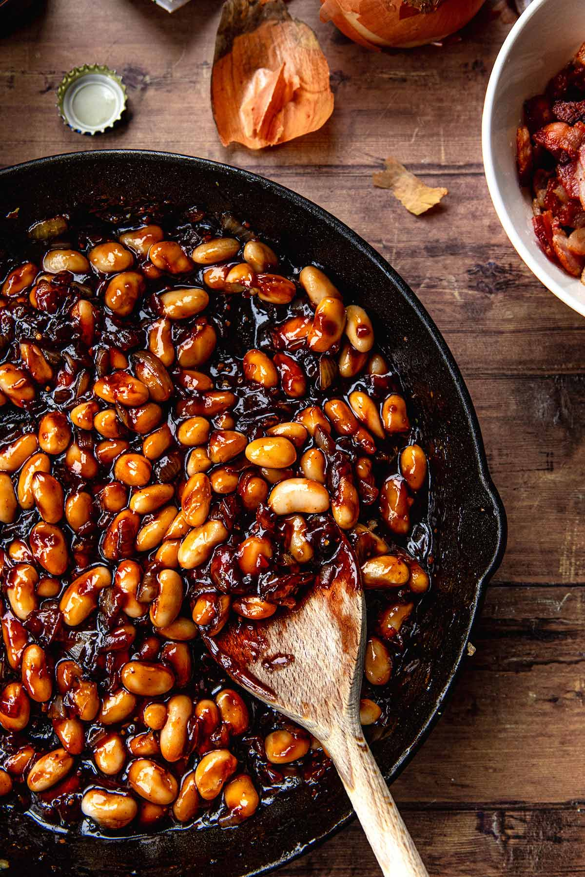 New England Baked Beans beans added to cast iron skillet