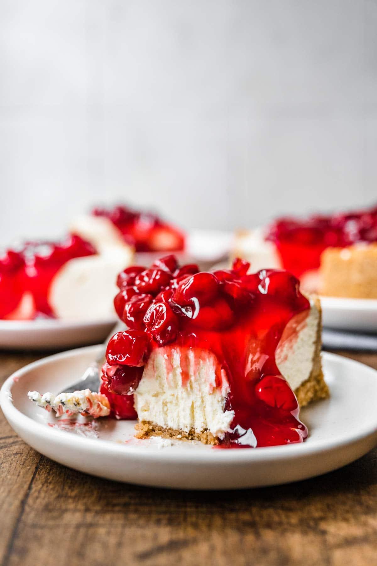 No Bake Cherry Cheesecake slice on plate