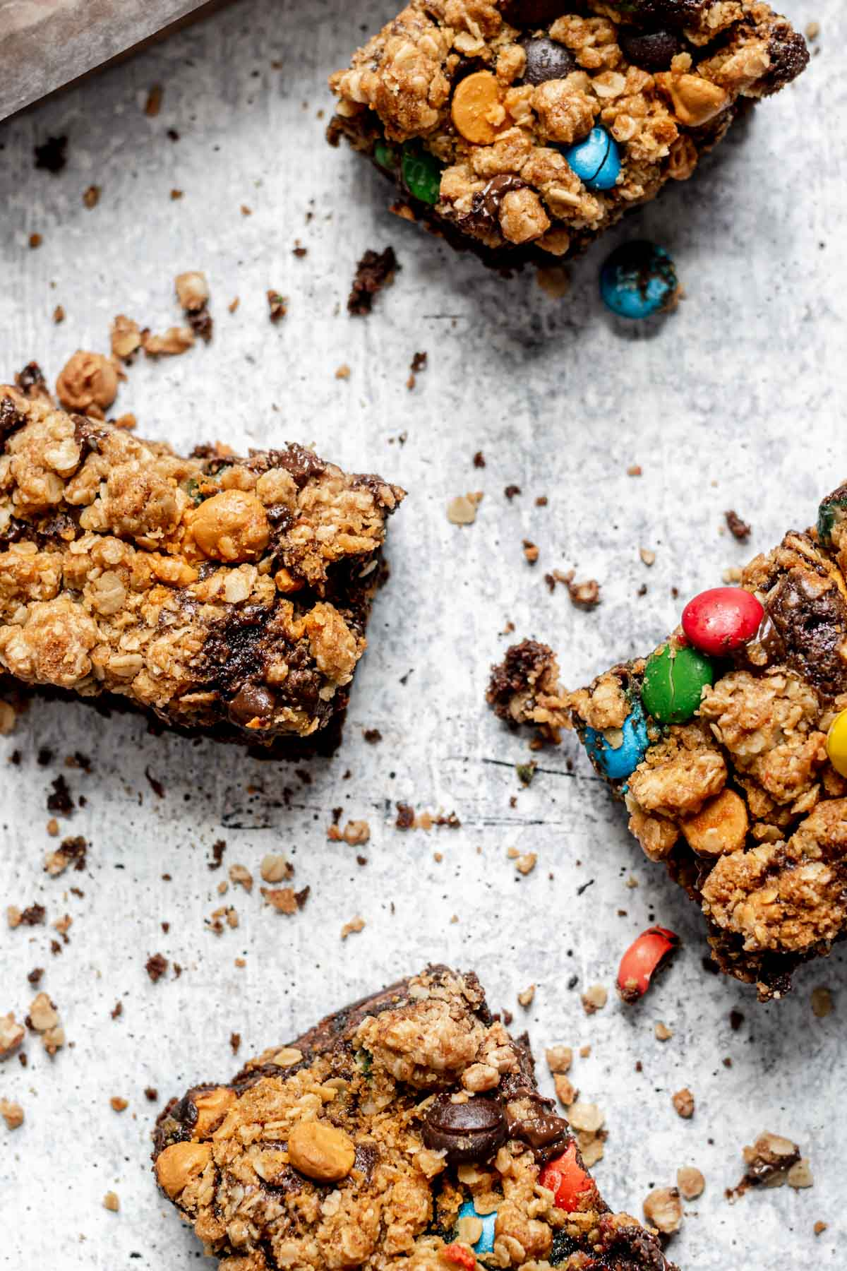 Oatmeal Monster Brownies on cutting board