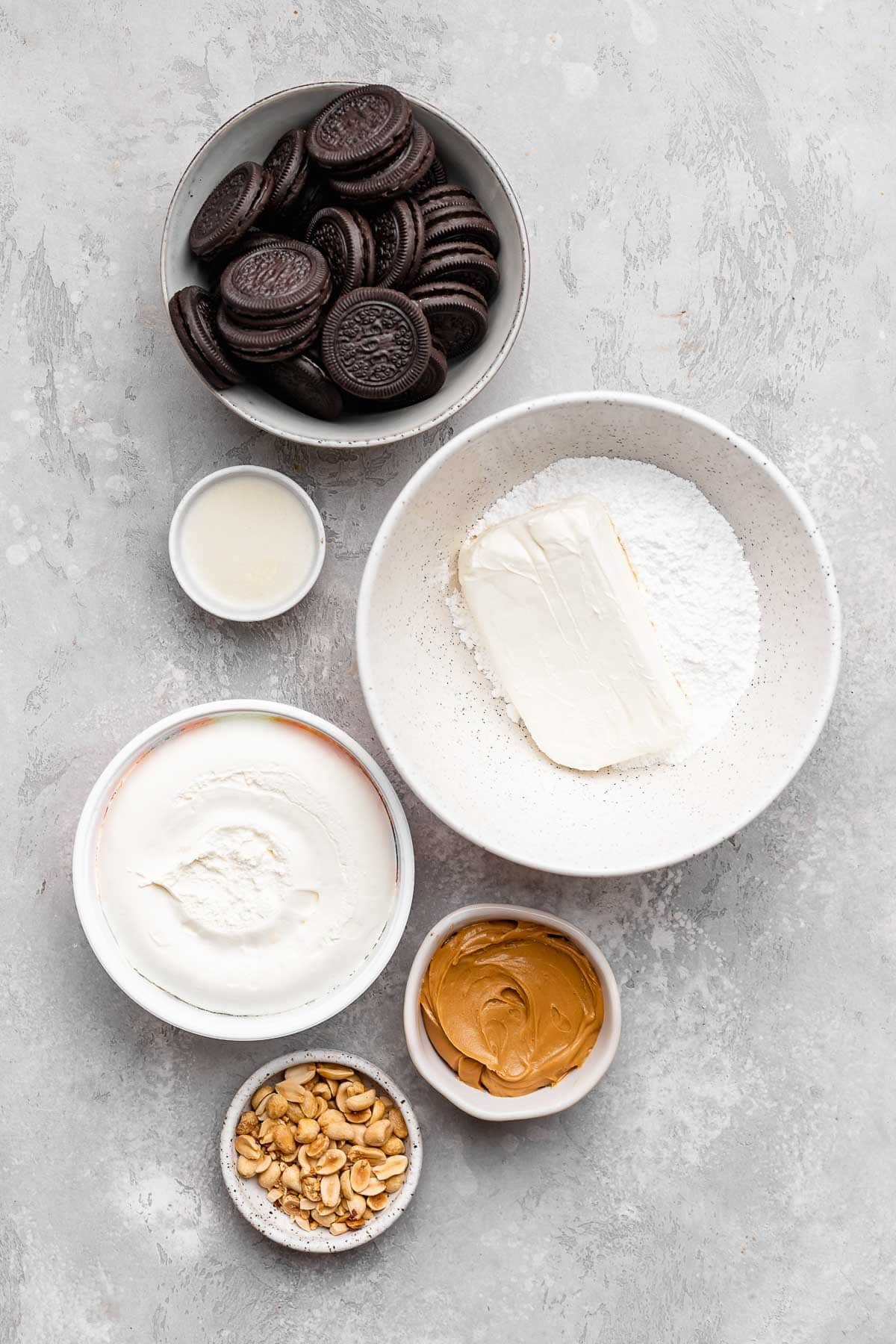 Ingredients for Peanut Butter Whip Pie in prep bowls