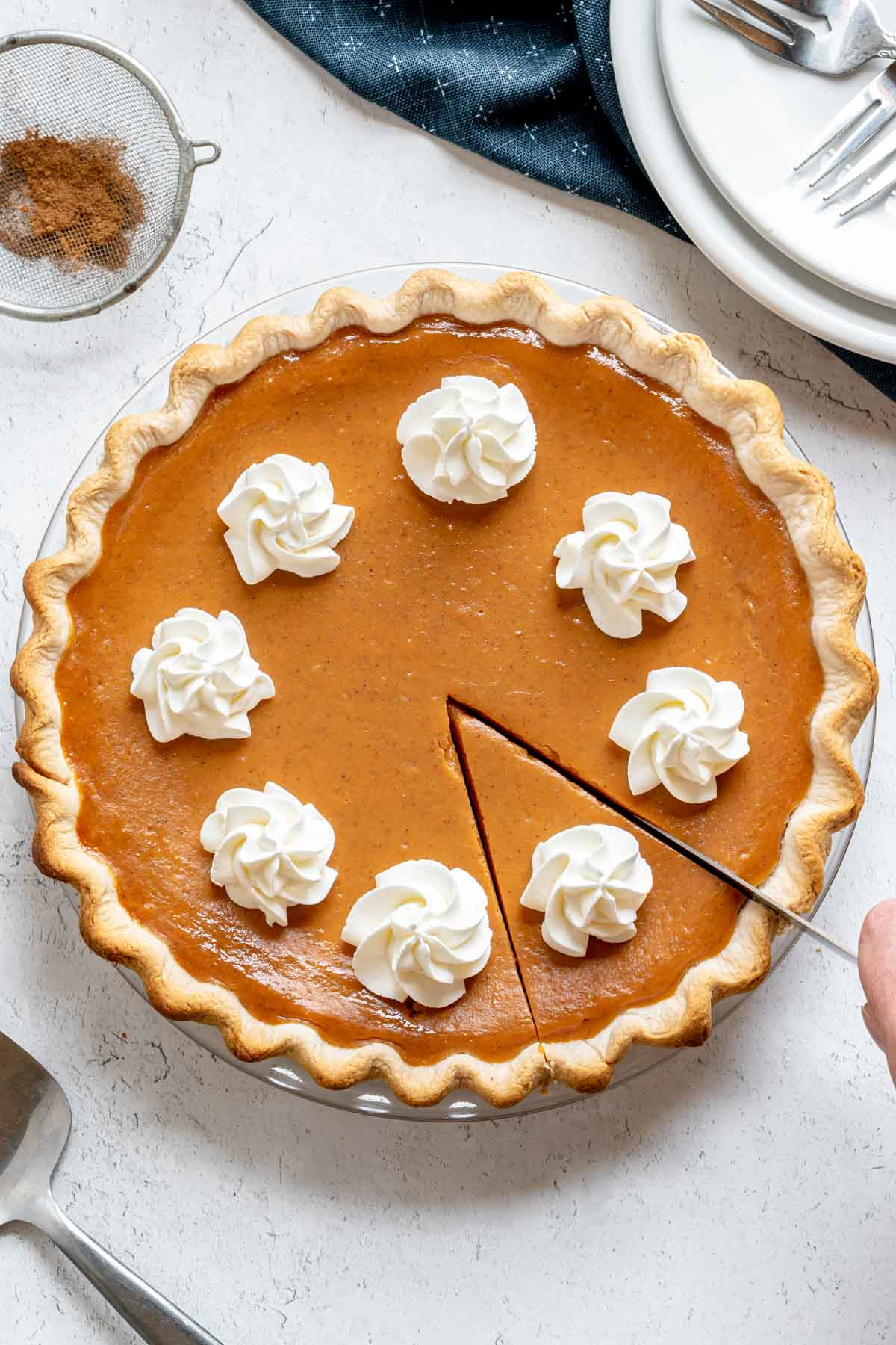 5 Ingredient Pumpkin Pie with whipped cream on top