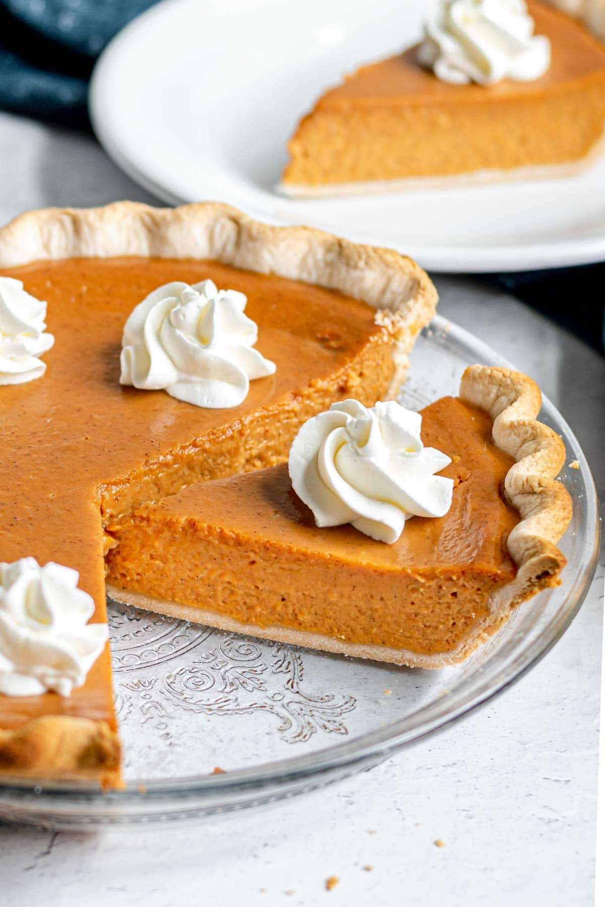 5 Ingredient Pumpkin Pie with whipped cream