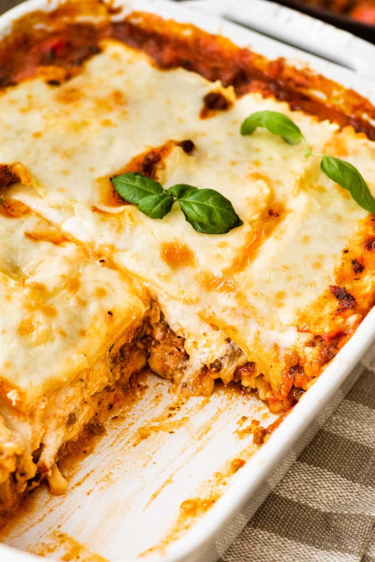Ravioli Lasagna Bake in baking dish