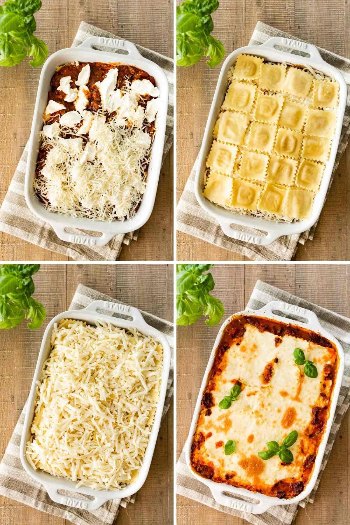 Ravioli Lasagna Bake layers in baking dish