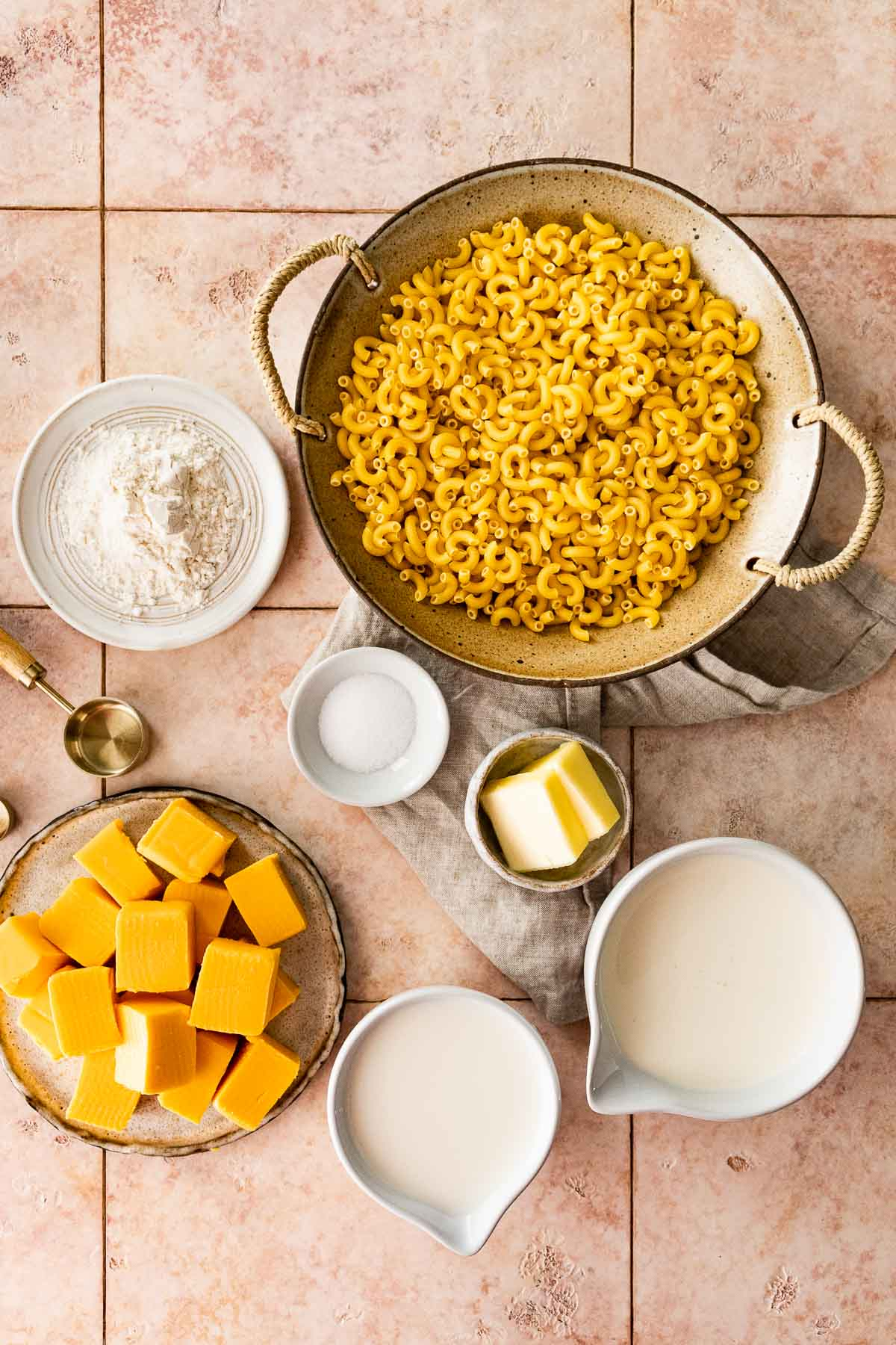 Ingredients in prep bowls for Skillet Creamy Mac and Cheese