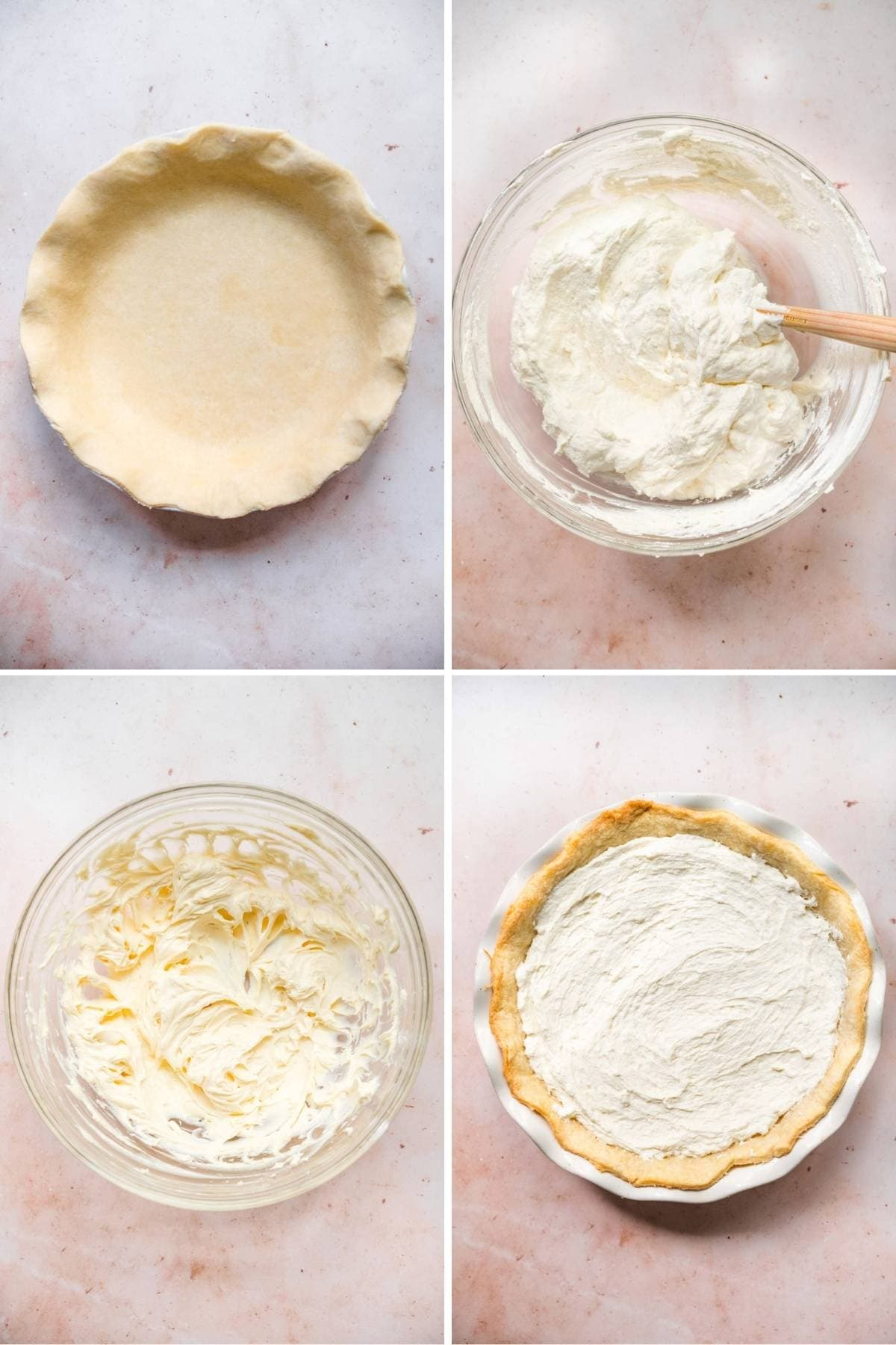 Strawberry Cream Cheese Pie pie crust and filling prep steps