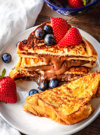 Stuffed Nutella French Toast with berries on top