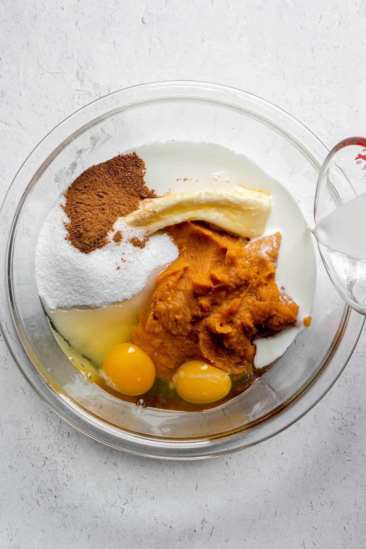 Sweet Potato Pie ingredients in mixing bowl