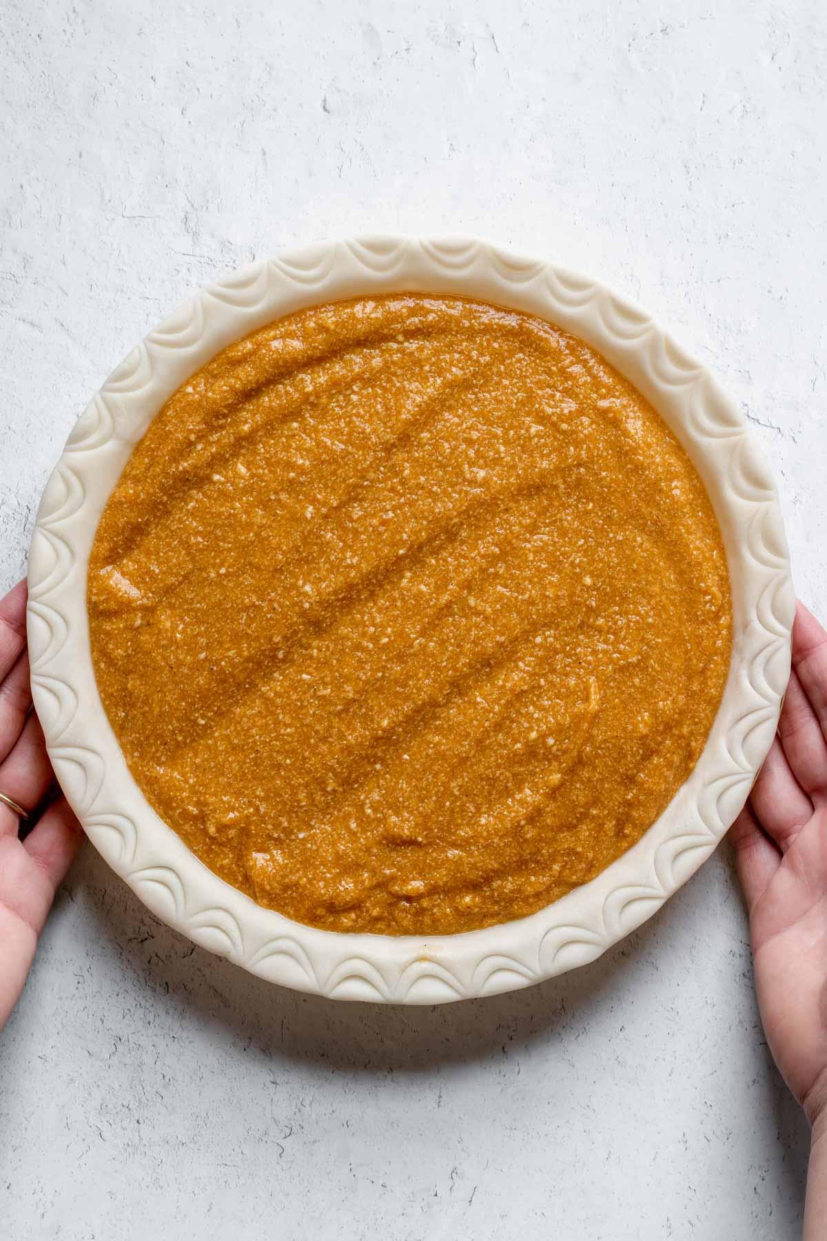 Sweet Potato Pie filling in pie crust