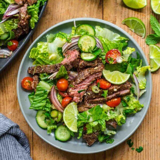 Thai Beef Salad serving on plate