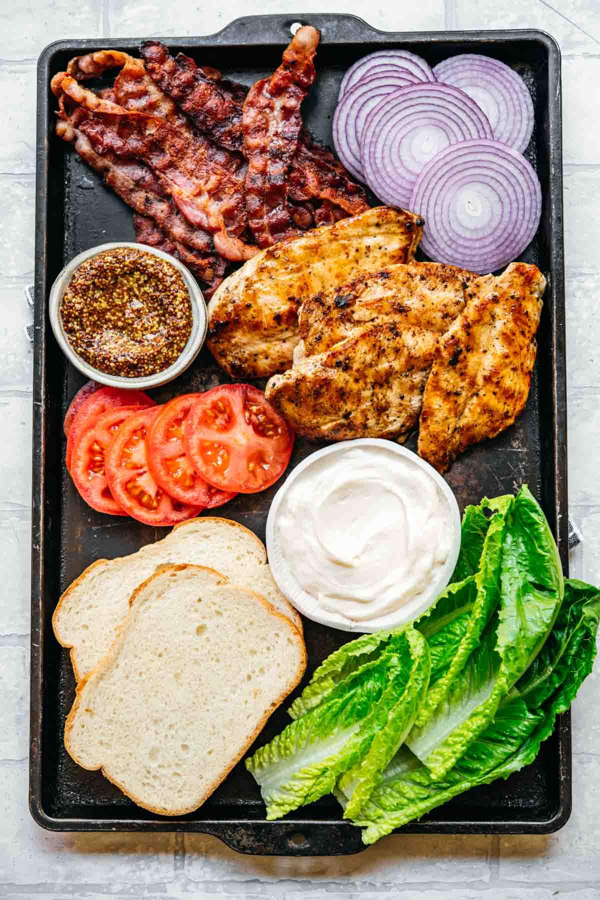 Ingredients for Grilled Chicken Sandwich