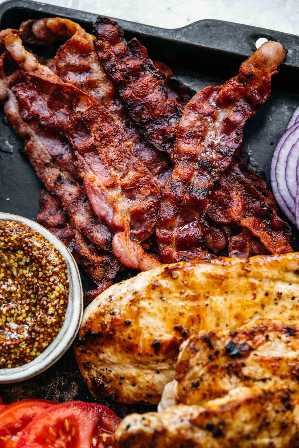 Grilled Chicken, bacon, and ground mustard for Grilled Chicken Sandwich
