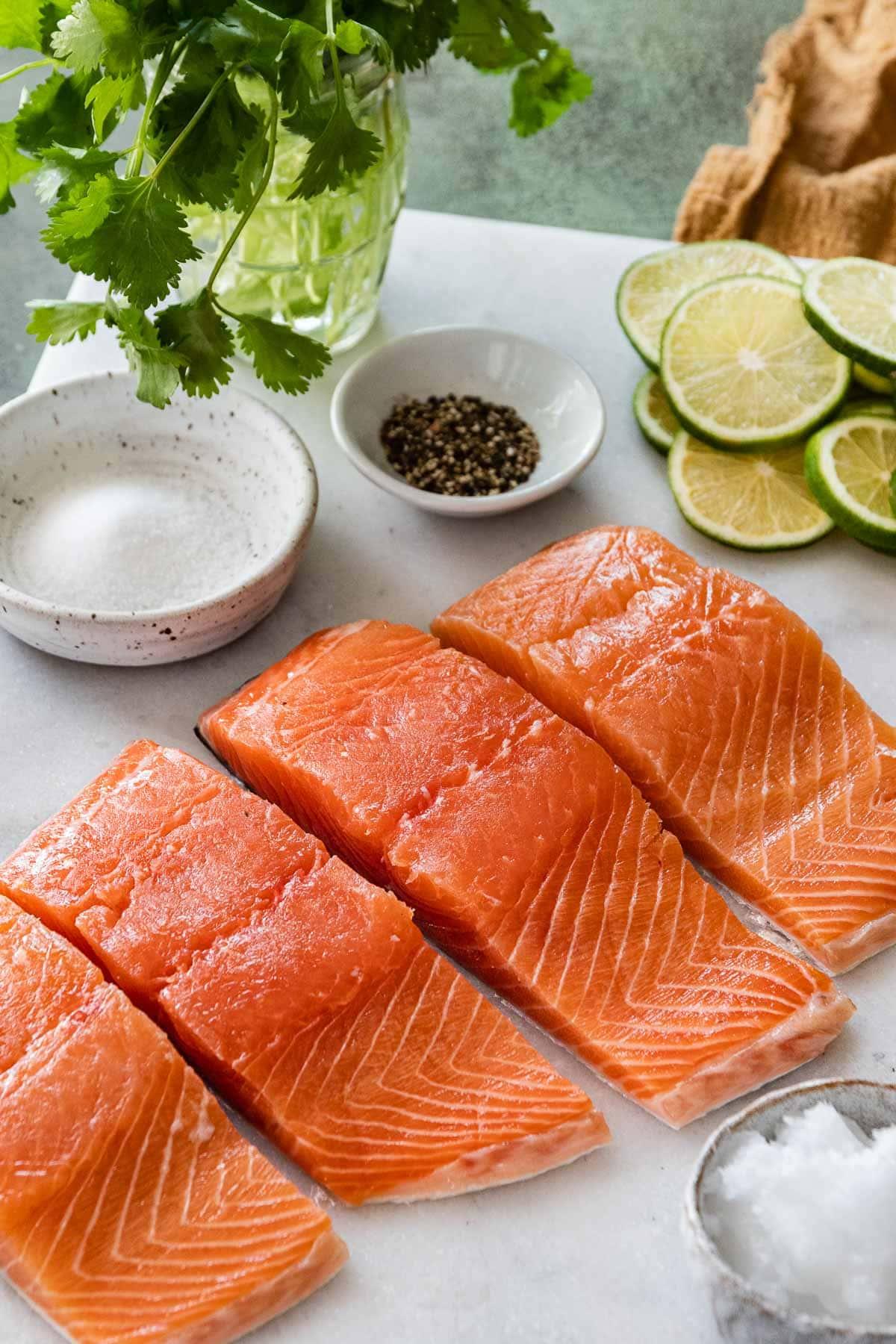 Baked Thai Peanut Salmon salmon on cutting board