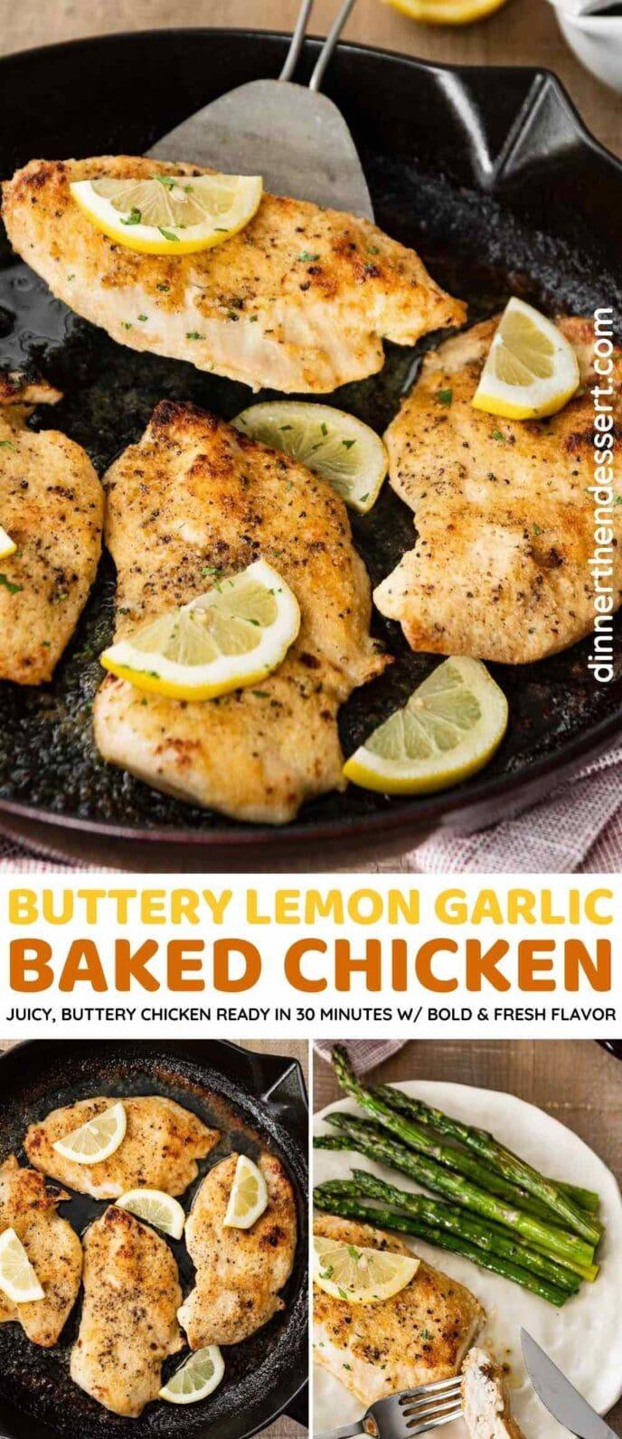 Buttery Lemon Garlic Baked Chicken collage