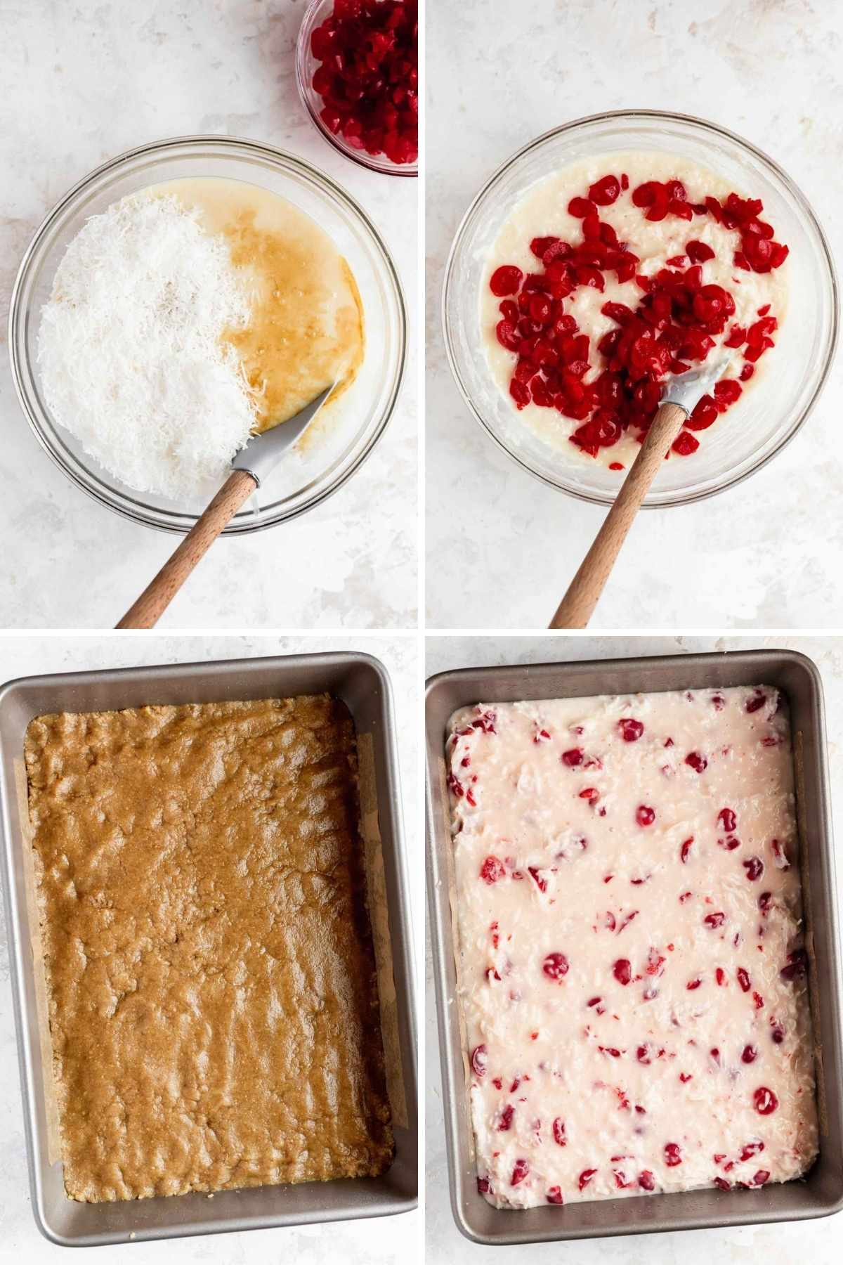 Cherry Coconut Bars prep steps of ingredients in bowls and layers in baking pan