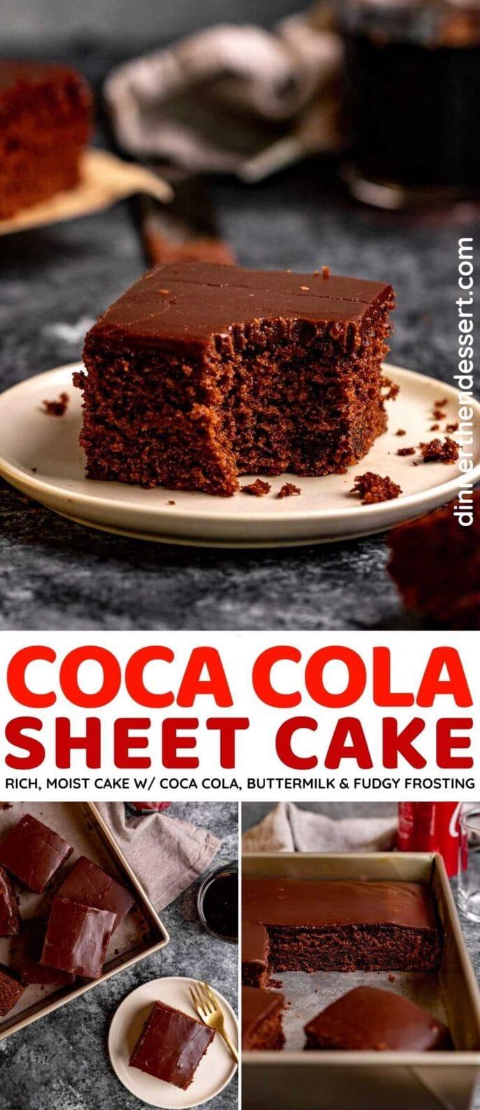 Coca Cola Sheet Cake collage