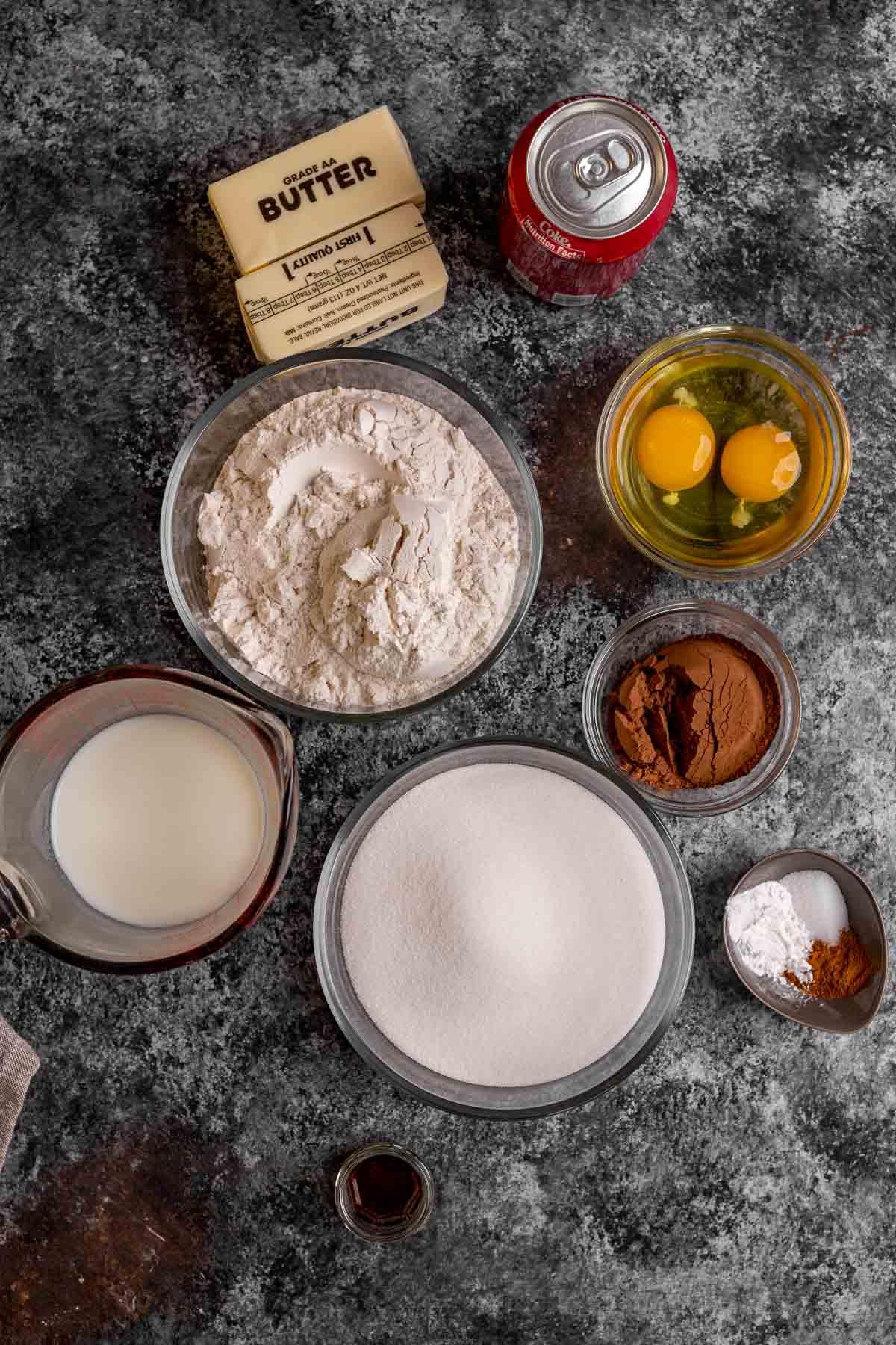 Coca Cola Sheet Cake ingredients in bowls