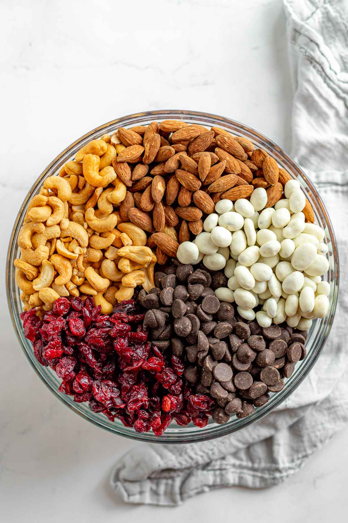 Cranberry Trail Mix in glass bowl before mixing