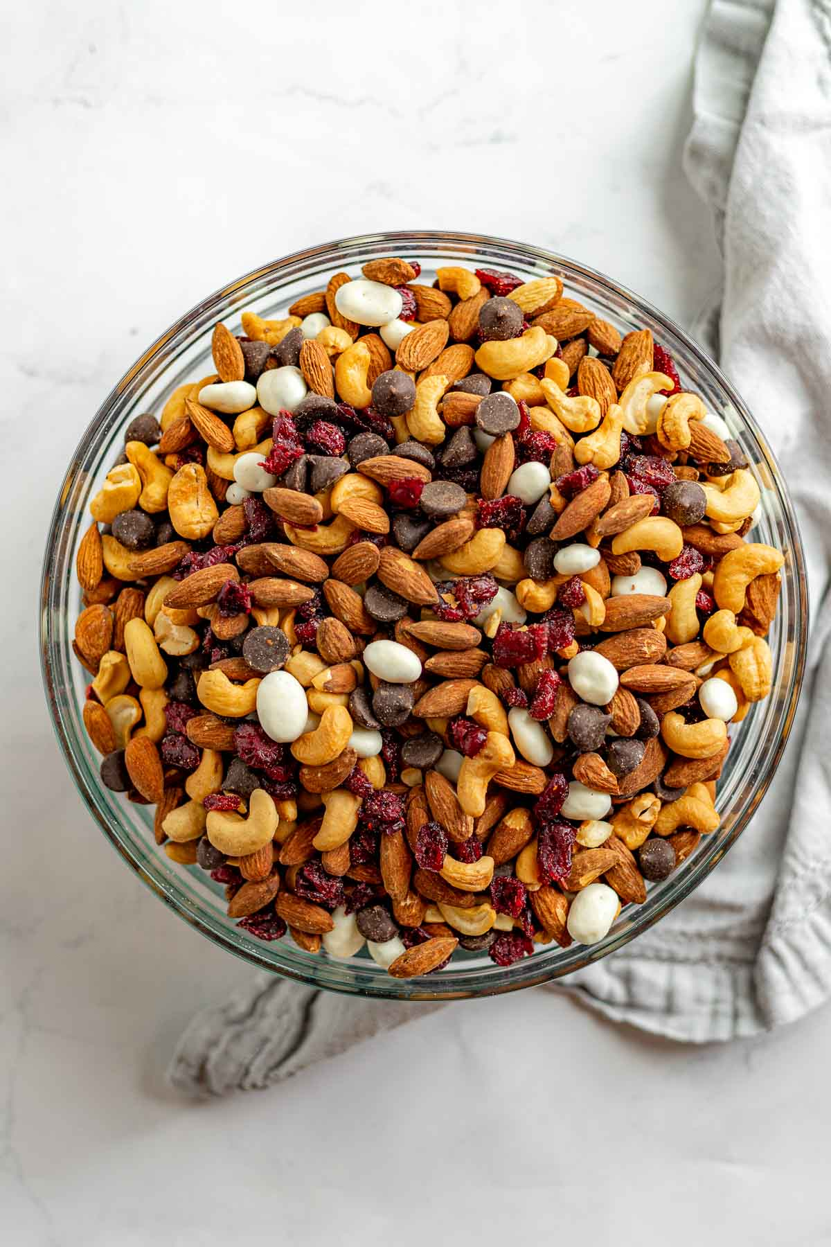 Cranberry Trail Mix in glass bowl