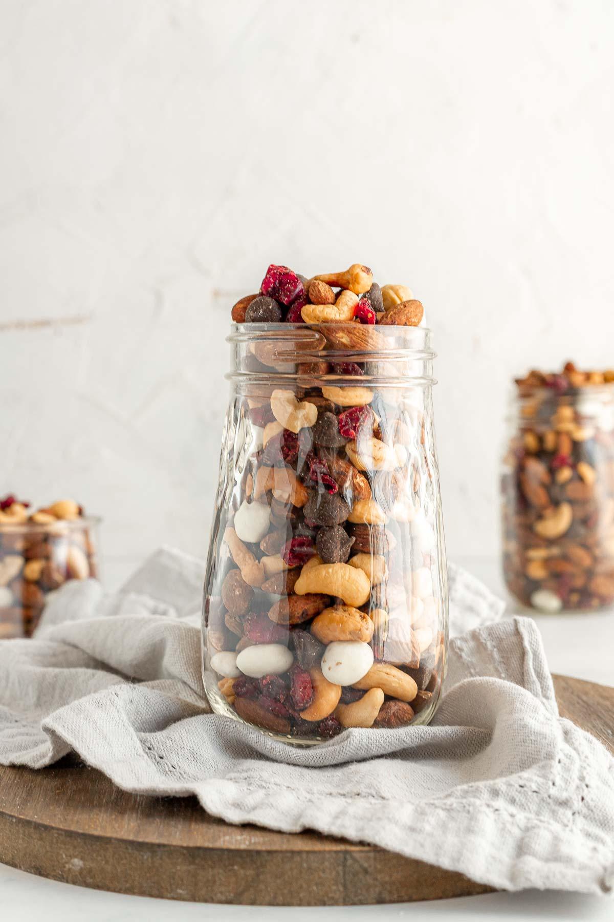 Cranberry Trail Mix in glass jar