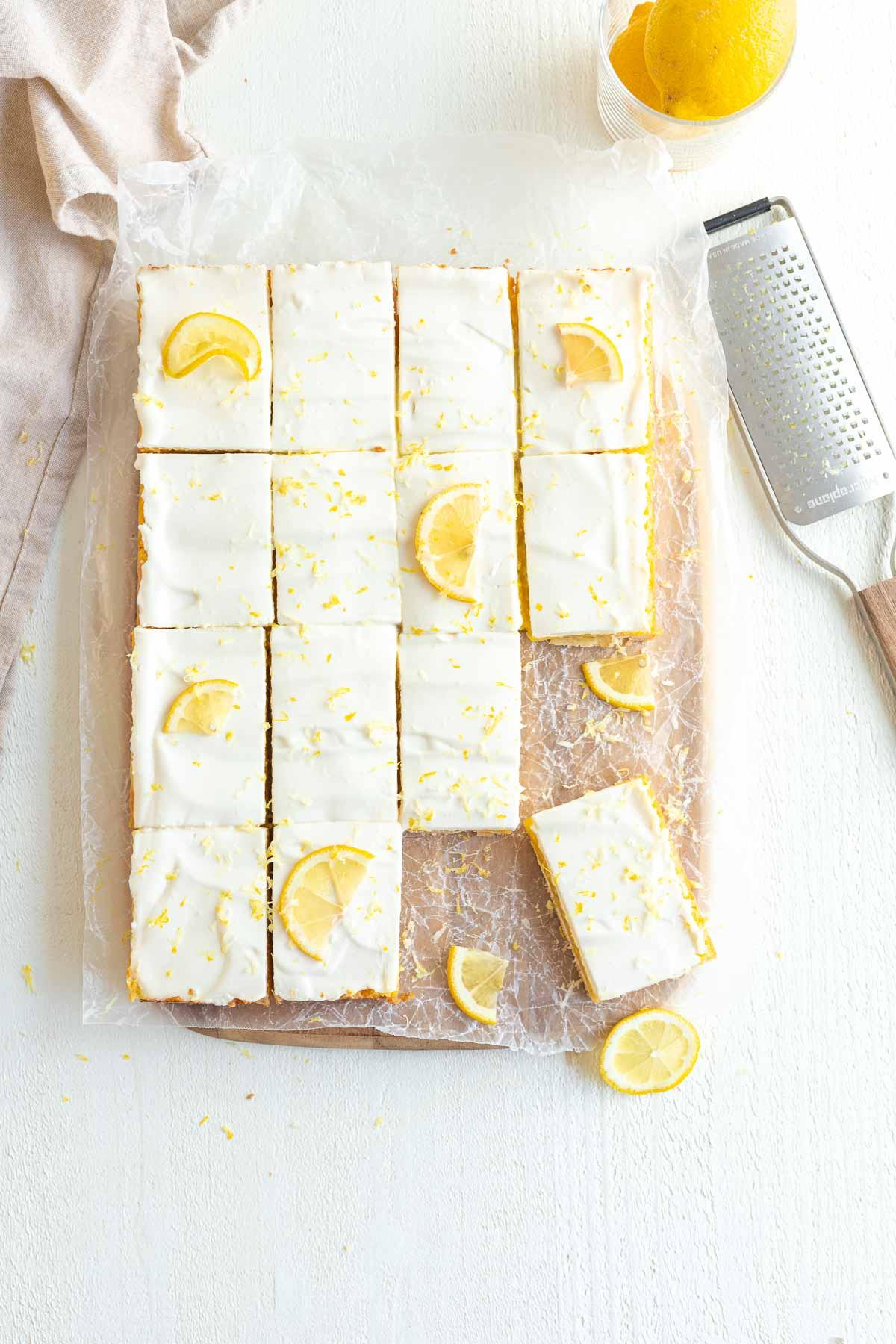 Lemon Shortbread Bars with candied lemon garnish