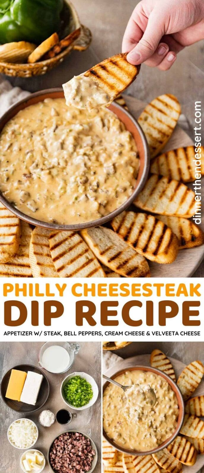 Philly Cheesesteak Dip collage