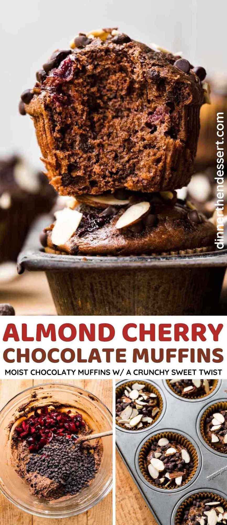 Almond Cherry Chocolate Muffins Collage
