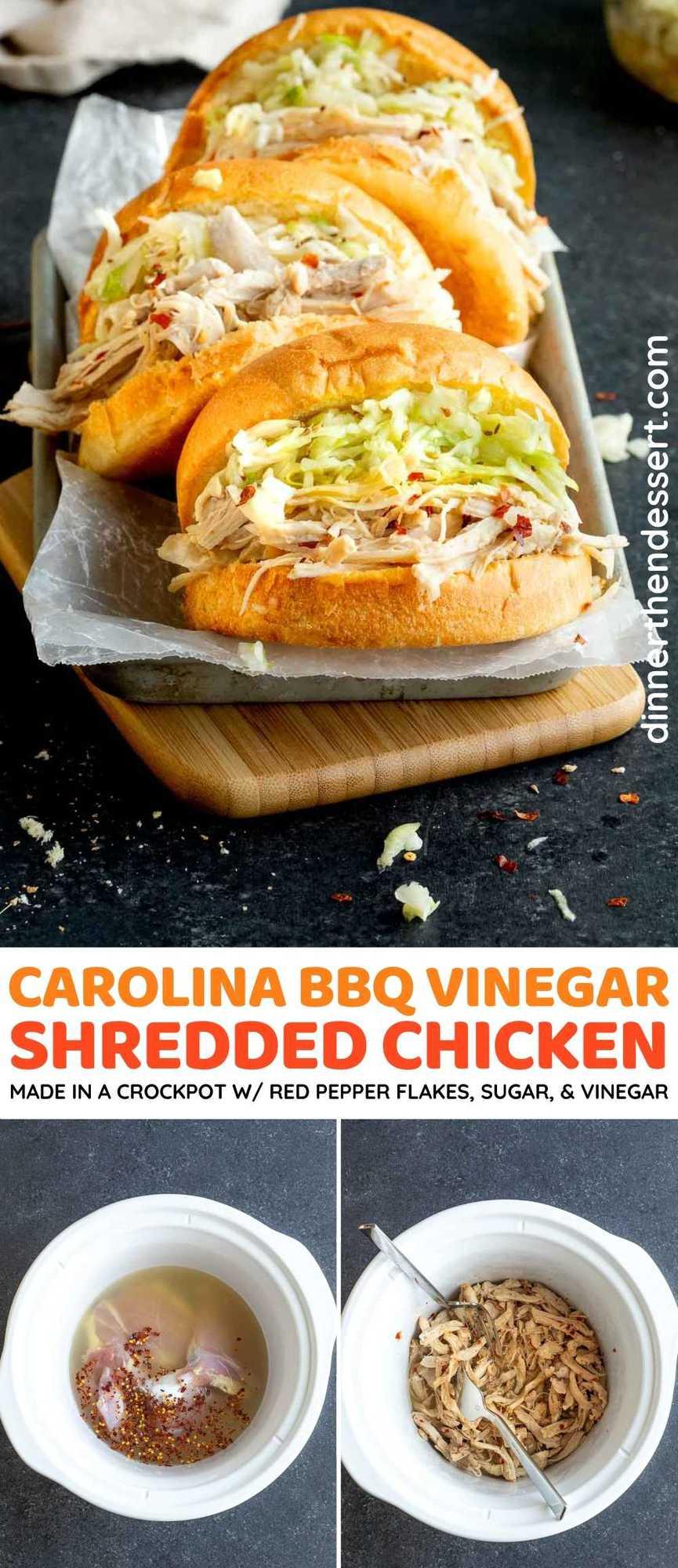 Carolina BBQ Vinegar Shredded Chicken collage