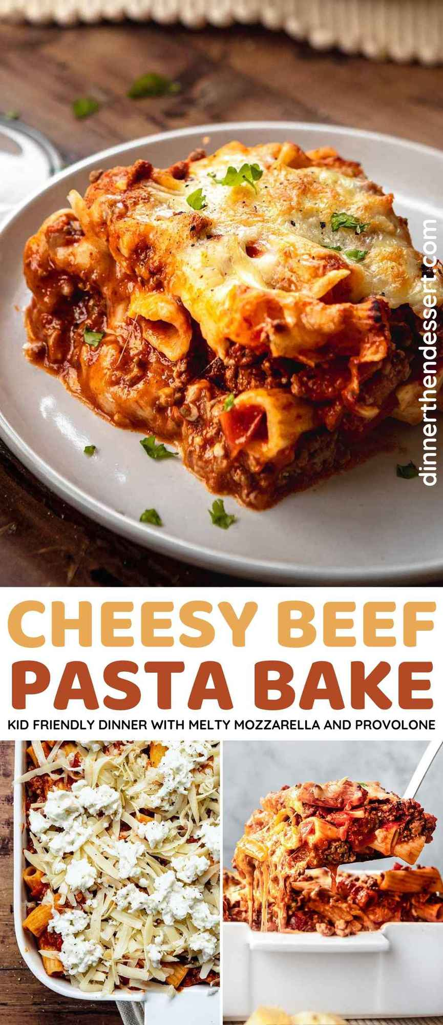 Cheesy Beef Pasta Bake Collage