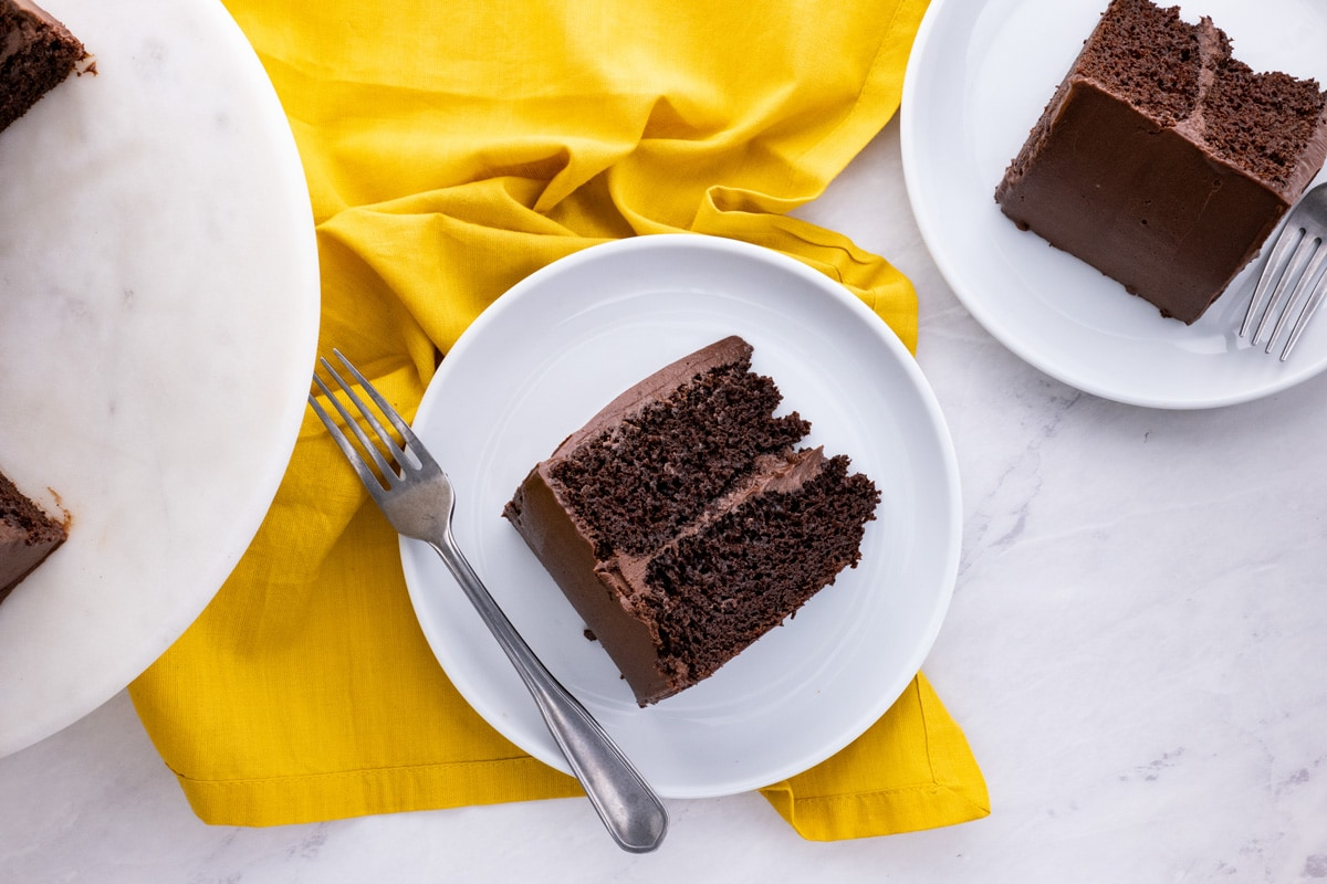 Easy Chocolate Cake frosted slice