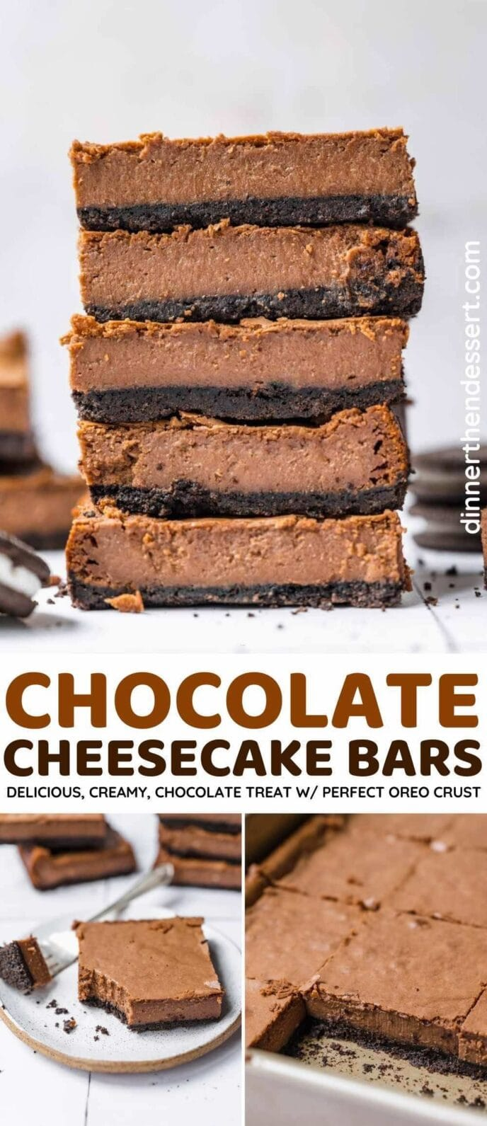 Chocolate Cheesecake Bars collage
