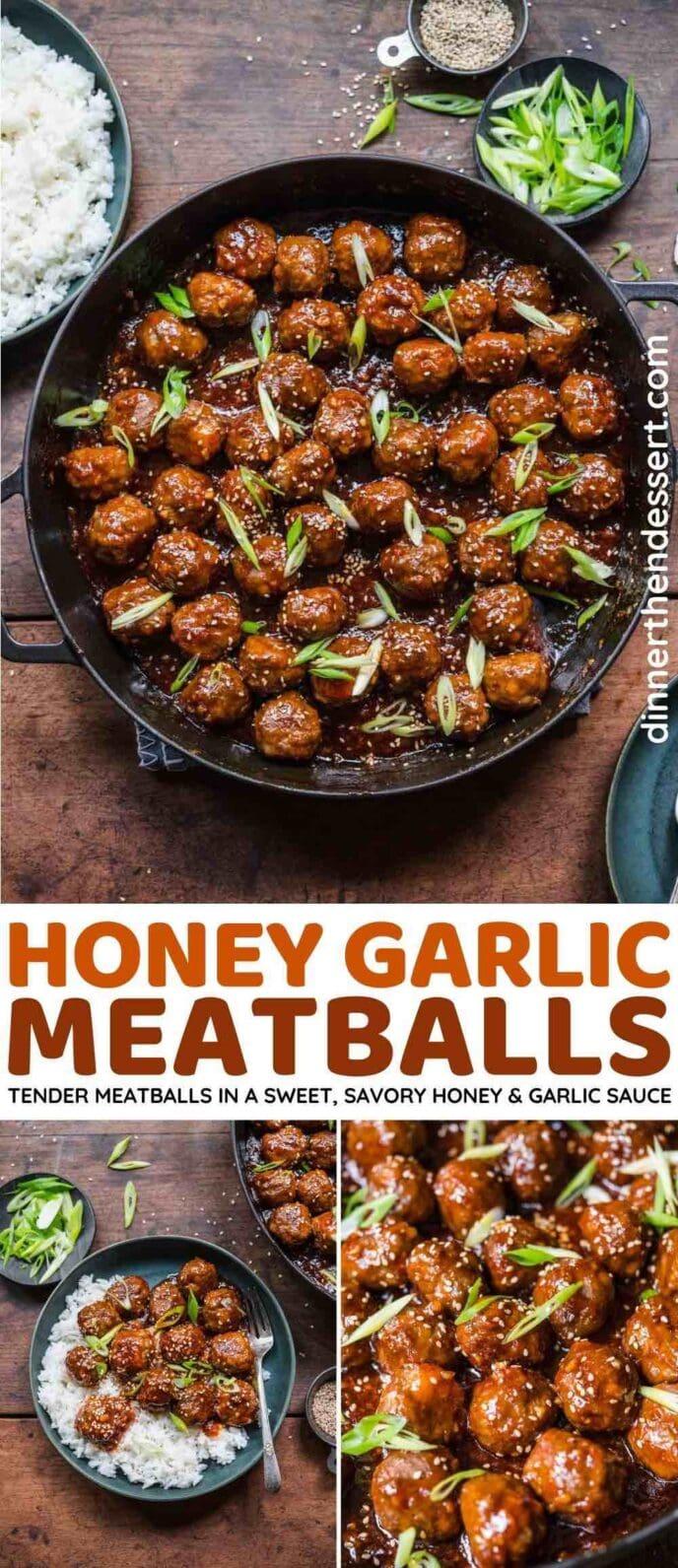 Honey Garlic Meatballs collage