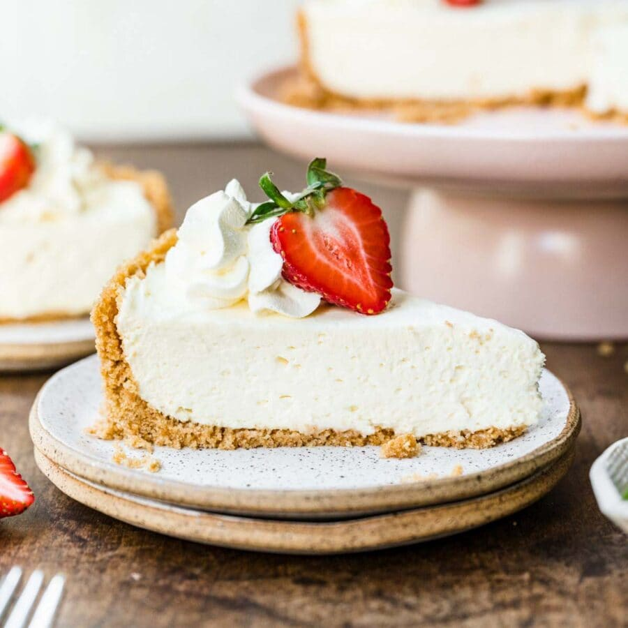 No-Bake Cheesecake on plate with strawberry