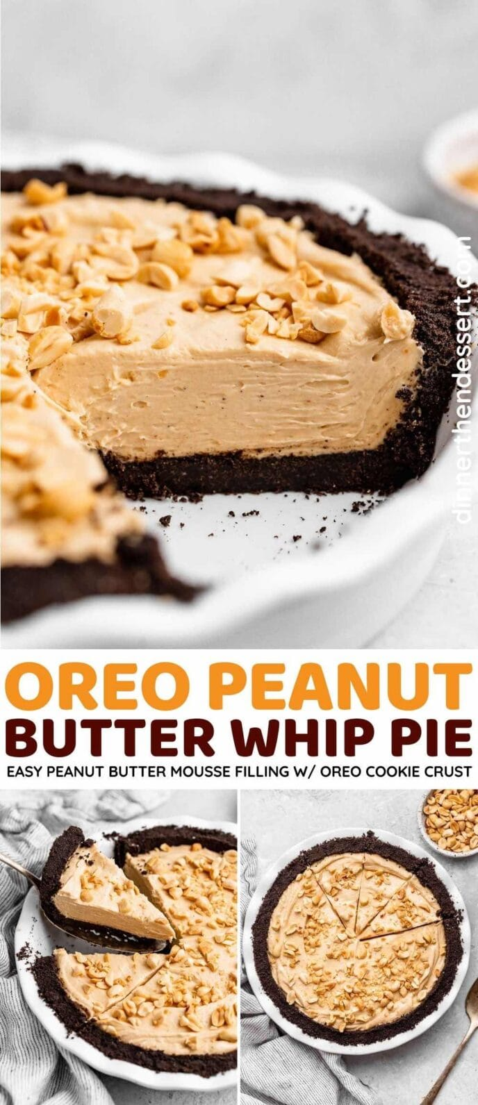 Oreo Peanut Butter Whip Pie collage