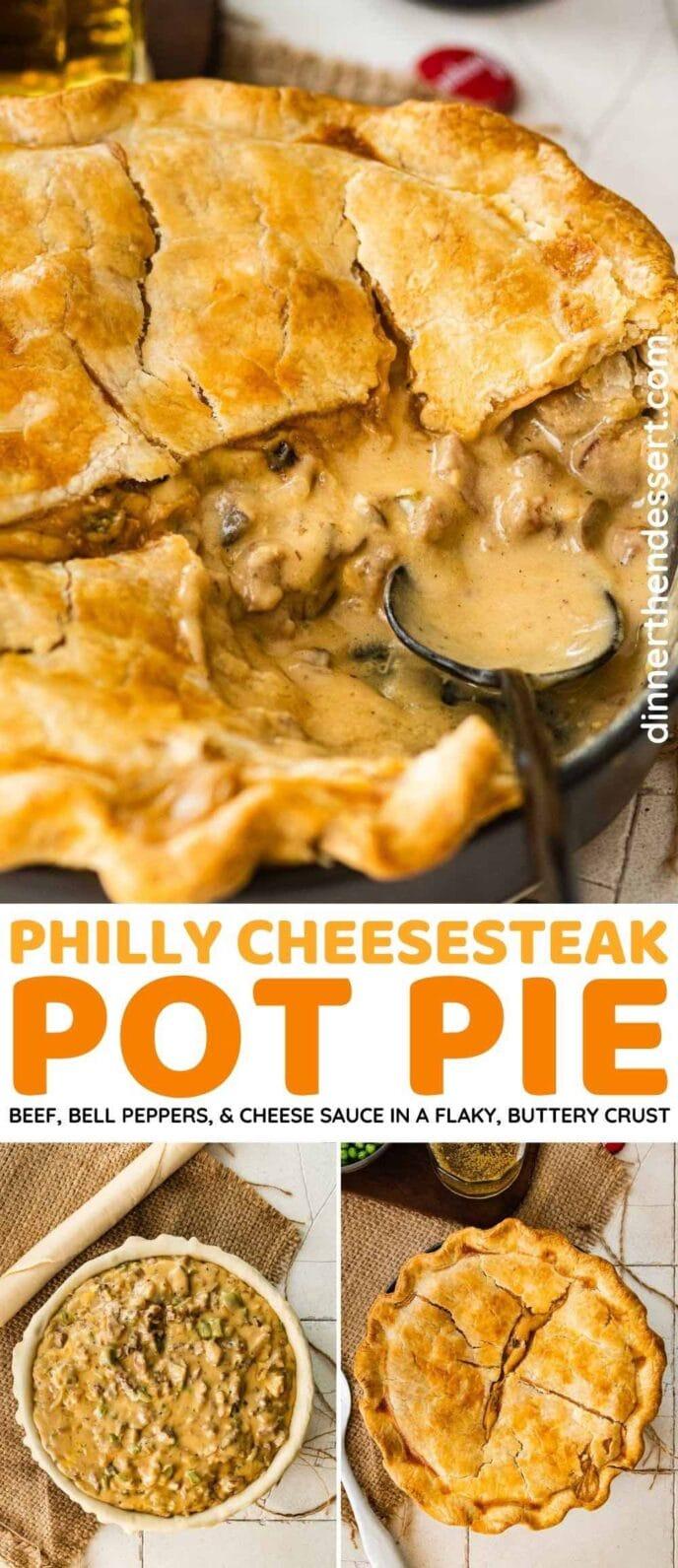 Philly Cheesesteak Pot Pie collage