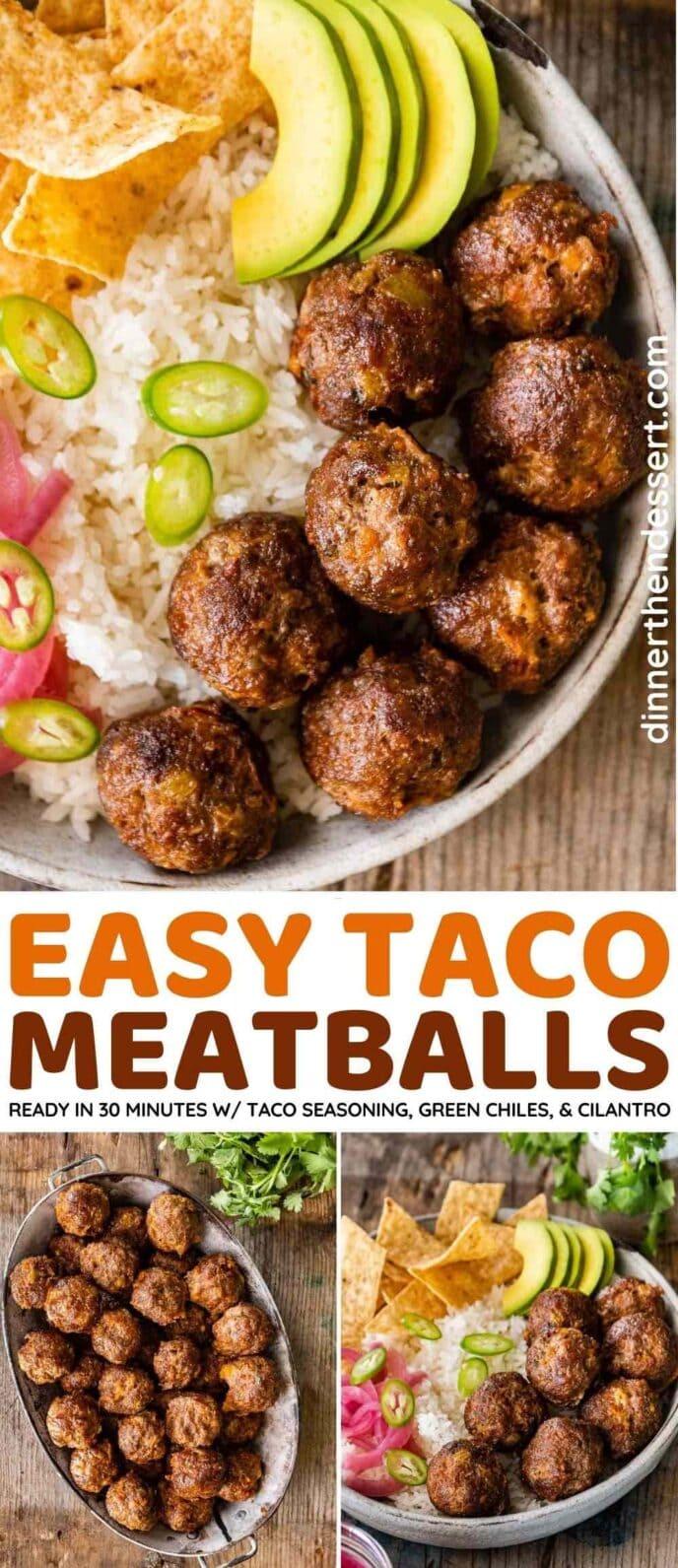 Taco Meatballs collage