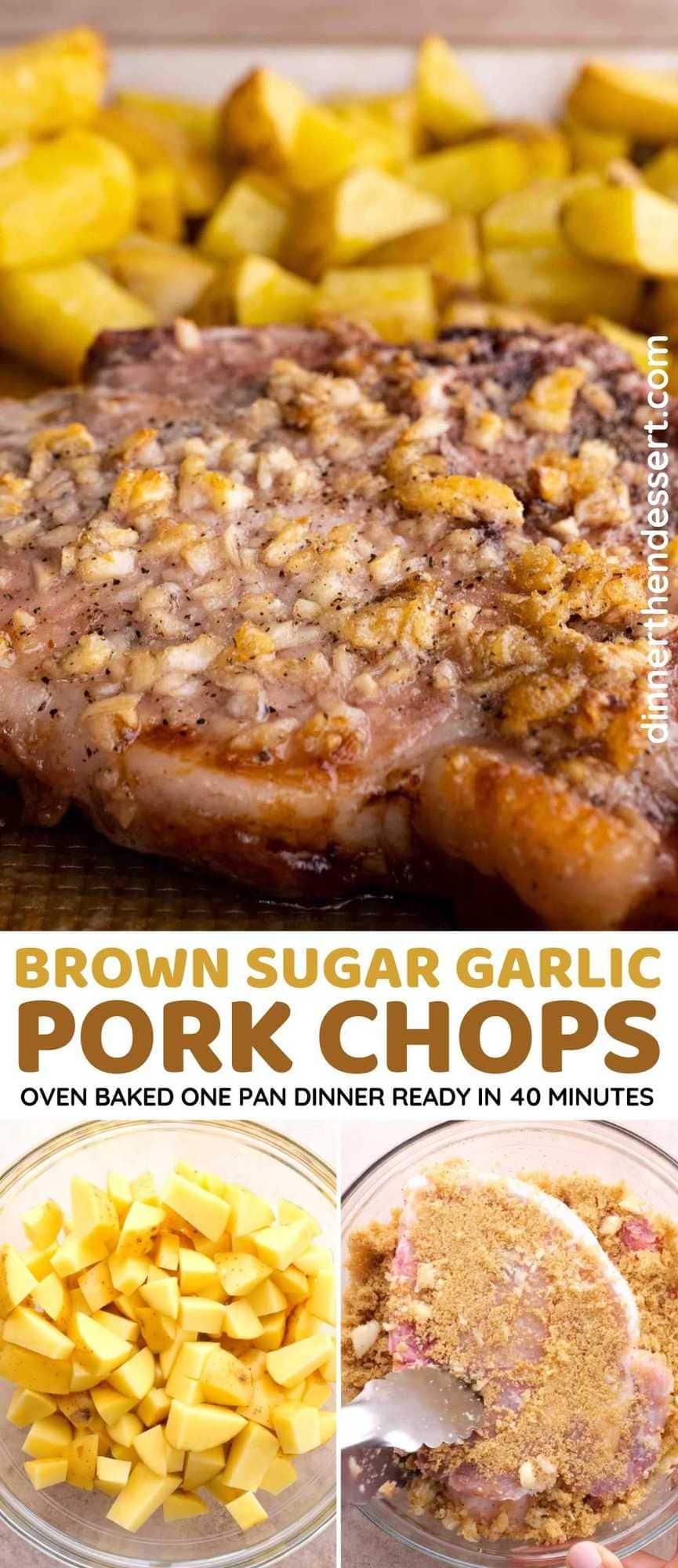 Brown Sugar Garlic Oven Baked Pork Chops Collage