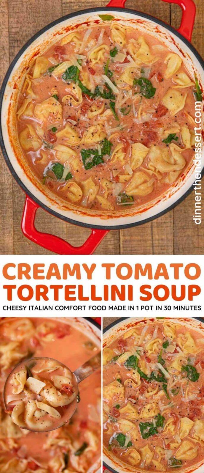 Creamy Tomato Tortellini Soup collage